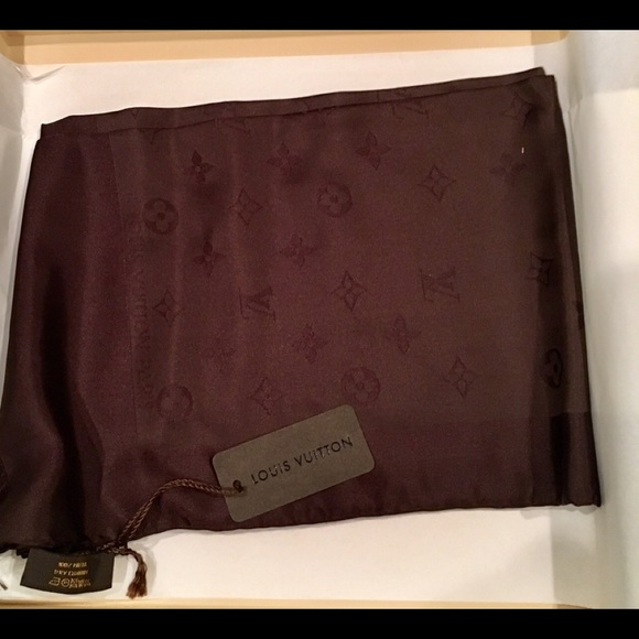 Louis Vuitton Accessories - Louis Vuitton Brown Classic Monogram Silk Scarf